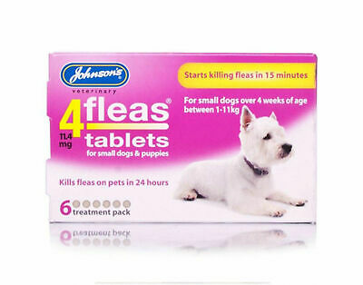 Johnsons 4Fleas Tablets Cat Dog Puppy - Starts Killing Fleas In 15 Mins 3&6 Pack 3