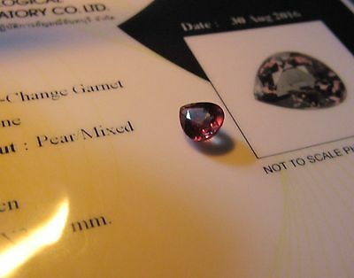 Rare Certified 1.16 Carat Pear Cut Colour Change Garnet.