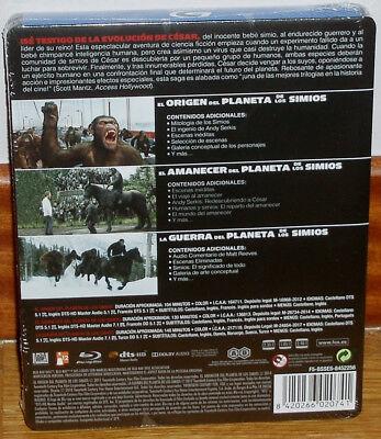 Trilogia El Planeta De Los Simios 3 Blu-Ray Nuevo Steelbook (Sin Abrir) R2 2