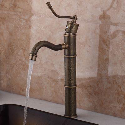 Antique Brass Bathroom Basin Faucet Vessel Sink Single Handle Tall Mixer Tap 10