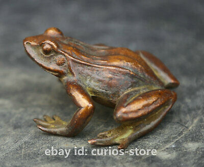 57MM Collect China Bronze Unique Mascot Frog Conforming To Good Taste Statue 4