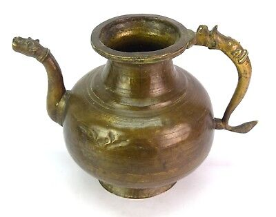 Antique Handcrafted Old Indian Rare Mughal Brass Pot/Vessel With Spout. G3-50 US 3
