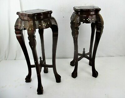 Pair Tall Carved Hard Wood Plant Bonsai Tables Pedestal  Inlay Mother of Pearl 2