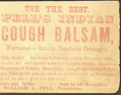 Pell's Indian Cough Balsam Cure Asthma Remedy bottle card Victorian Advertising 2
