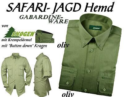 Jagdhemd Freizeithemd Hemd Schulterklappen Garbardin Baumwol oliv  SKOGEN