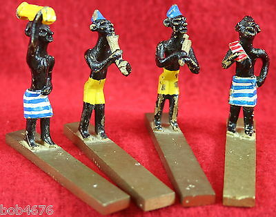 4 VINTAGE 1930s/40s SOLID BRASS HAND PAINTED MINIATURE EGYPTIAN Musician FIGURES 2