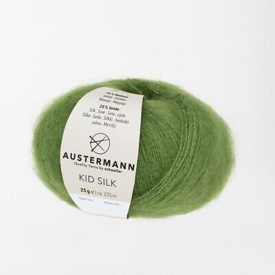 25/%SeideLacegarn 1X GRÜN Kid Silk Austermann Schoeller Wolle 1 x25g 75/% Mohair
