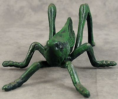 LARGE FIREPLACE HEARTH CRICKET Cast Iron GOOD LUCK SCULPTURE ~ Antiqued Green ~