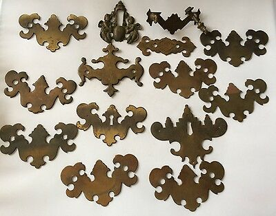 Antique Salvage Decorative Lot Of Solid Brass Cabinet Drawer Handle Cover Plates 11