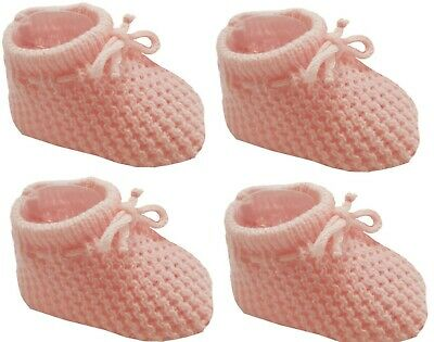 New Baby Babies Boy Girl Knitted Booties White Pink Blue Cream Size NB-3M Shoes 9