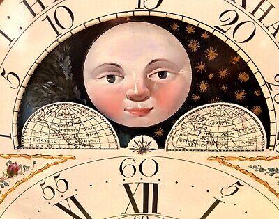 Antique Rolling Moon Phase Oak Mahogany Longcase Grandfather Clock HAYES WREXHAM 8