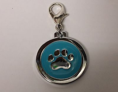 ENGRAVED PAW PRINT Pet Name Id Tag cat puppy dog collar 25mm nickel disc disk P 7