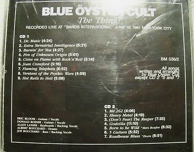 """Blue Oyster Cult """"The Thing !"""" Double Cd Fat Jewel Case Live In Nyc 1981 Bm036/2 6"""