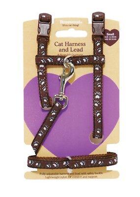 Rosewood Small Cat Kitten Nylon Adjustable Harness & Lead Set Pawprint 08062 2