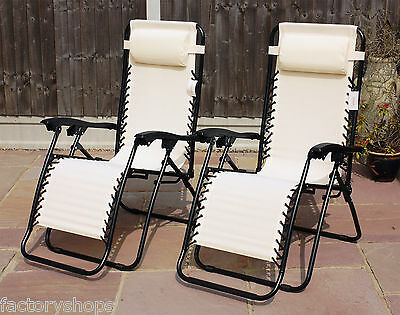 Set Of 2 Reclining Sun Loungers Gravity Folding Garden Chairs Or Spare Parts 5