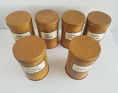 6 alte Apothekerdosen Weißblech lackierte Marmorierung um 1900 5