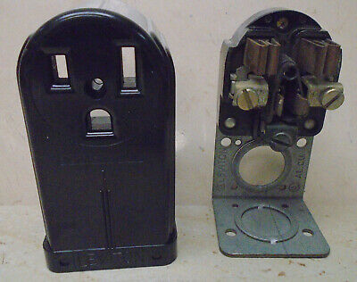 LEVITON 50A 250V Receptacle Surface Mount VTG Bakelite Electric Outlet ART DECO 5