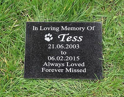 Personalised Engraved Pet Dog/Cat Natural Granite Memorial Plaque Grave Marker 2