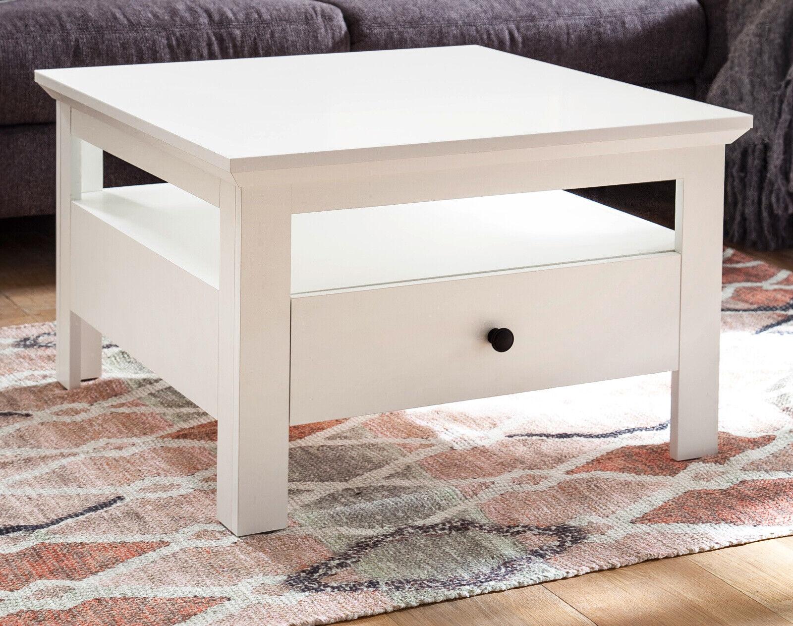 COUCHTISCH WEISS LANDHAUS Beistelltisch Schubkasten Wohnzimmer Sofa Tisch  Baxter