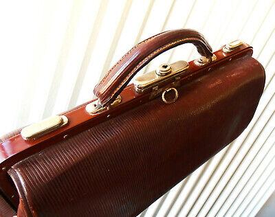 Antike Leder Arzttasche Doktortasche Tasche Sacvoyage Hebammentasche um 1900 10