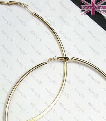 "10cm JUMBO BAMBOO HOOP EARRINGS 4/""big GIANT gold//silver fashion XL HOOPS metal"