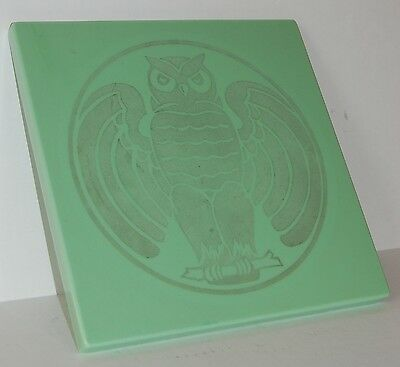 c. 1920's 1930's Vitrolite Building Tile Or Table Top Art Deco Etched Owl Design 3