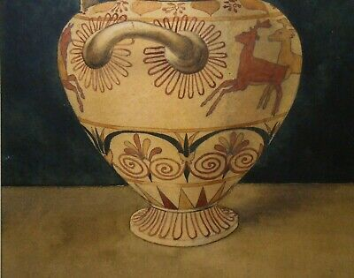 A. H. Smith Sgnd Late 19Th C 1898 Antique W/C Grecian Urn Laid Down On Millboard 7