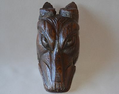Antique French Black Forest Hand Carved Oak Wooden Animal Head Ibex, Giraffe Dog 3
