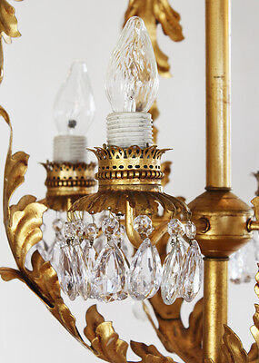 Antique Xlrg Italian Tole Gilt Crystal Chandelier Vintage Rare Shape 3
