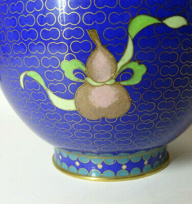 Alte Cloisonne Vase Email Top Blumen Flower alt China Asiatica 7