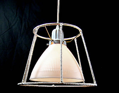 Vintage Chandelier Milk Glass Pendant RePurposed Shade Industrial Diffuser White 2