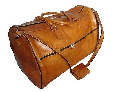 Echte Leder Tasche Cognac Reisetasche 48x30 Gym Sporttasche Duffle Allrounder