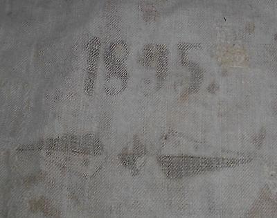Leinensack korn leinen sack alt Getreidesack dat.1895 antik top nostalgie deko 2