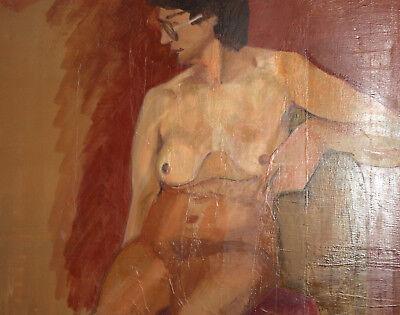 Vintage European large oil painting nude 12