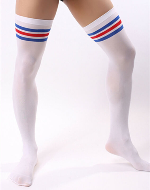 Men Soccer Thigh Stocks High Stockings Velvet Sport Striped Long Socks NEW HOT 7