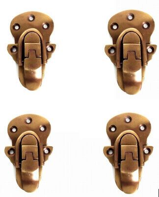 4 small TRUNK catch hasp latch suitcase old style BOX solid brass LOCK 66 mm B 11
