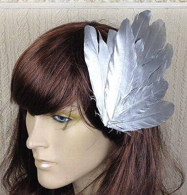 silver feather fascinator millinery hair clip wedding piece ascot race dance 2