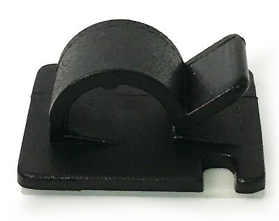 25mm x 25mm Self Adhesive Nylon Clips For Cable Wire Conduit Black or White