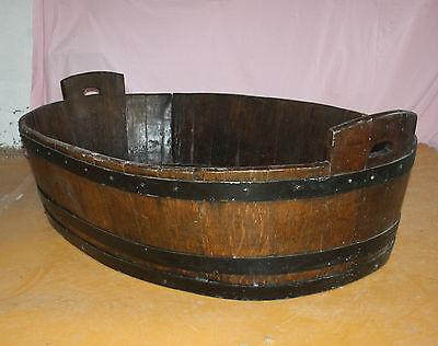 Antique Victorian huge unusual vernacular barrel log basket dog bed bath cot 2
