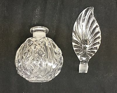 Vintage Crystal Clear Heavy Glass Feather Shape Perfume Bottle Vanity Decanter 5