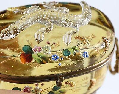 Antique Moser Bohemian amber art glass Casket hinged box enameled applied lizard 9