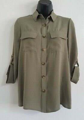 NEW ex DP Khaki Green Button Up Collared Casual Loose Fit Blouse Shirt Top 8-16 5