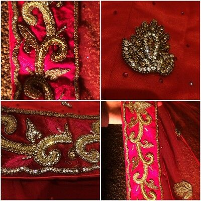 Indian Bridal Wedding Lengha Red Net Pink Thread With Gold & Silver Embroidery 9
