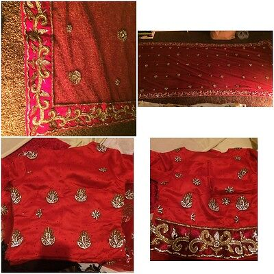 Indian Bridal Wedding Lengha Red Net Pink Thread With Gold & Silver Embroidery 10
