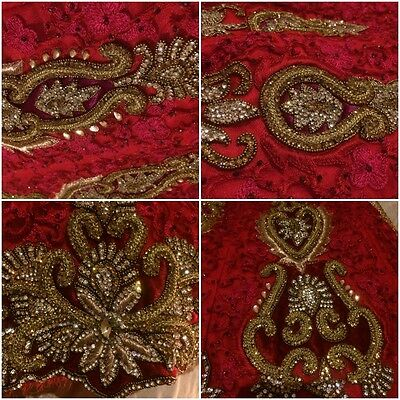 Indian Bridal Wedding Lengha Red Net Pink Thread With Gold & Silver Embroidery 8