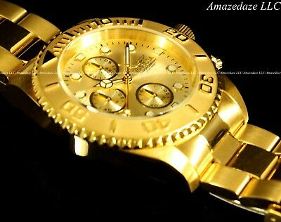 NEW Invicta Mens 18K Gold Plated Stainless Steel Golden Dial Chronograph Watch!! 2