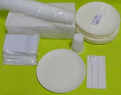100 Pappteller Plastikbecher Messer Gabeln Servietten