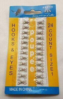 24 pc Hook And Eye Fasteners Silver Dress Making Bra Repair Sew sizes 1-4 5