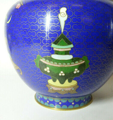 Alte Cloisonne Vase Email Top Blumen Flower alt China Asiatica 6