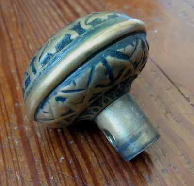 ANTIQUE BRASS VICTORIAN DOORKNOB - Geometric Design 2